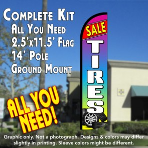Tires Sale (Red/Multicolor) Windless Feather Banner Flag Kit (Flag, Pole, & Ground Mt)