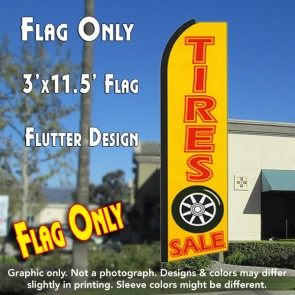 TIRES SALE (Yellow) Flutter Feather Banner Flag (11.5 x 3 Feet)