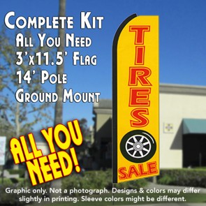 TIRES SALE (Yellow) Flutter Feather Banner Flag Kit (Flag, Pole, & Ground Mt)