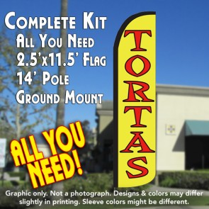 TORTAS Windless Feather Banner Flag Kit (Flag, Pole, & Ground Mt)
