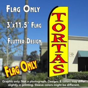 TORTAS (Yellow) Flutter Feather Banner Flag (11.5 x 3 Feet)
