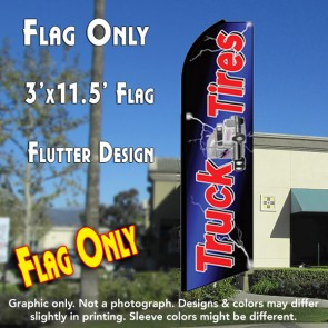 TRUCK TIRES (Blue) Flutter Feather Banner Flag (11.5 x 3 Feet)