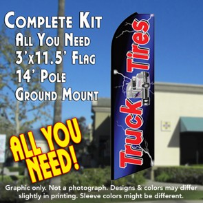 TRUCK TIRES (Blue) Flutter Feather Banner Flag Kit (Flag, Pole, & Ground Mt)