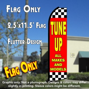 TUNE UPS ALL MAKES AND MODELS (Red/Checkered) Flutter Polyknit Feather Flag (11.5 x 2.5 feet)