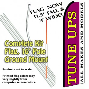 Tune Ups  Feather Banner Flag Kit (Flag, Pole, & Ground Mt)