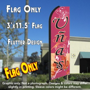 UNAS (Nails) Flutter Feather Banner Flag (11.5 x 3 Feet)