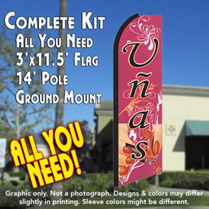 UNAS (Nails) Flutter Feather Banner Flag Kit (Flag, Pole, & Ground Mt)