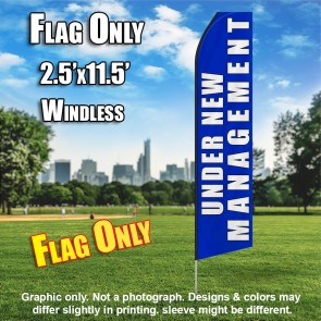 UNDER NEW MANAGEMENT blue white flutter feather flag