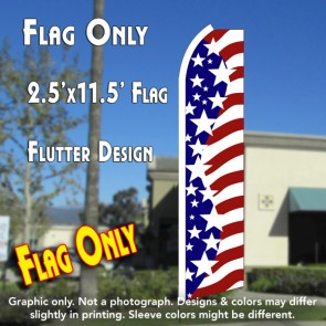 USA AMERICAN STARS Flutter Polyknit Feather Flag (11.5 x 2.5 feet)