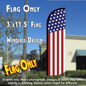 USA FLAG (Pattern/Vertical) Windless Polyknit Feather Flag (3 x 11.5 feet)
