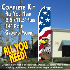 USA NEW GLORY (Eagle) Flutter Feather Banner Flag Kit (Flag, Pole, & Ground Mt)