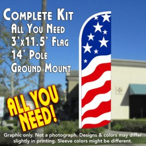 USA NEW GLORY Windless Feather Banner Flag Kit (Flag, Pole, and Ground Mount)