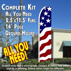 USA NEW GLORY Flutter Feather Banner Flag Kit (Flag, Pole, & Ground Mt)