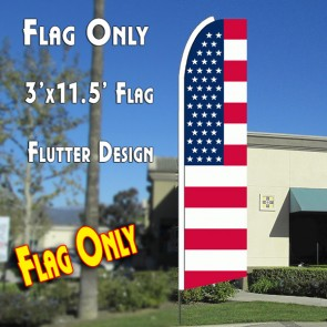 USA OLD GLORY (Flag Pattern) Flutter Feather Banner Flag (11.5 x 3 Feet)