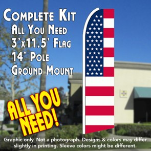 USA OLD GLORY (Flag Pattern) Flutter Feather Banner Flag Kit (Flag, Pole, & Ground Mt)