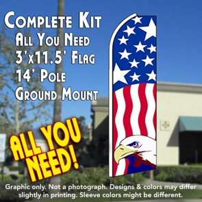 USA PATRIOTIC (Eagle) Flutter Feather Banner Flag Kit (Flag, Pole, & Ground Mt)