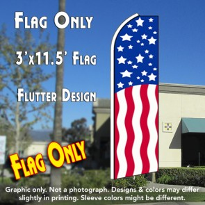USA PATRIOTIC Flutter Feather Banner Flag (11.5 x 3 Feet)