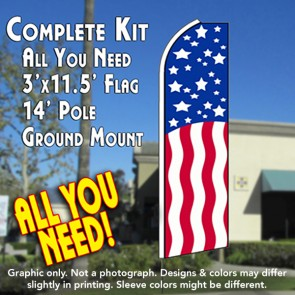 USA PATRIOTIC Flutter Feather Banner Flag Kit (Flag, Pole, & Ground Mt)