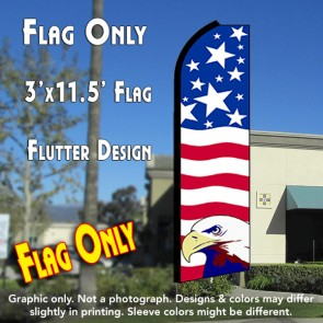 USA PRIDE (Eagle) Flutter Feather Banner Flag (11.5 x 3 Feet)