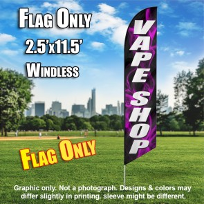 VAPE SHOP black / white purple smoke Windless Feather Banner Flag