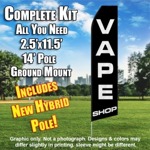 VAPE SHOP (Black) Econo Feather Banner Flag Kit (Flag, Pole, & Ground Mt)