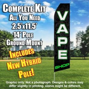 VAPE SHOP (Black/GREEN) Econo Feather Banner Flag Kit (Flag, Pole, & Ground Mt)