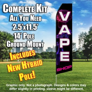 VAPE SHOP (Black/PINKSMOKE) Econo Feather Banner Flag Kit (Flag, Pole, & Ground Mt)