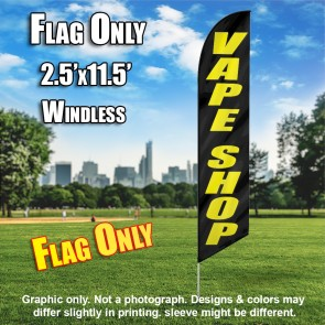 VAPE SHOP black / yellow Windless Feather Banner Flag