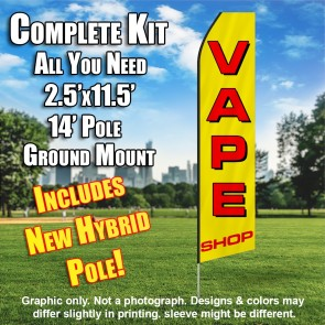 VAPE SHOP (YELLOW/RED) Econo Feather Banner Flag Kit (Flag, Pole, & Ground Mt)