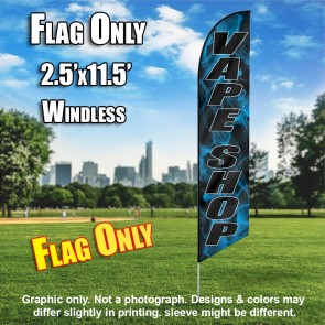 VAPE SHOP black letters with blue smoke Windless Feather Banner Flag Only