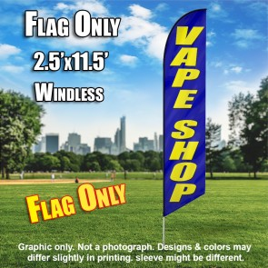 VAPE SHOP blue/yellow letters Windless Feather Banner Flag