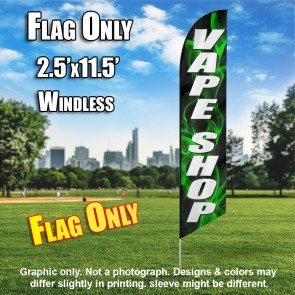 VAPE SHOP (Black/ green smoke white letters ) Windless Feather Banner Flag