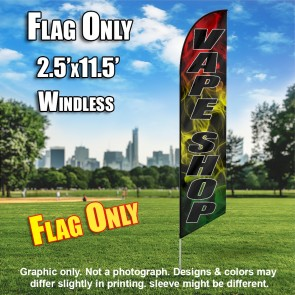 VAPE SHOP (Black/black rasta tri color) Windless Feather Banner Flag