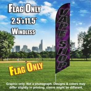 VAPE SHOP black/black letters purple smoke Windless Feather Banner Flag
