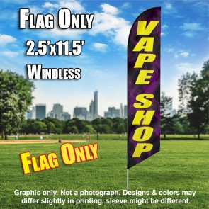 VAPE SHOP black with purple smoke / yellow letters Windless Feather Banner Flag