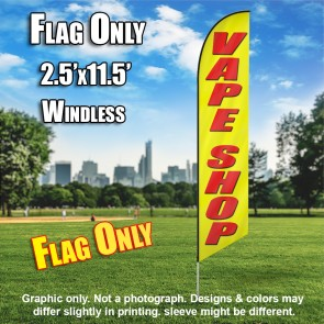 VAPE SHOP yellow/red Windless Feather Banner Flag