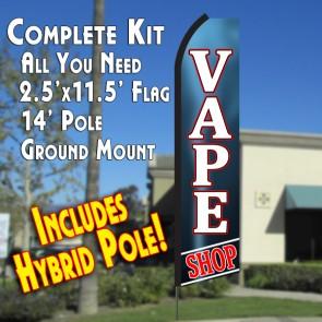 VAPE SHOP (Blue Gradient) Flutter Feather Banner Flag Kit (Flag, Pole, & Ground Mt)