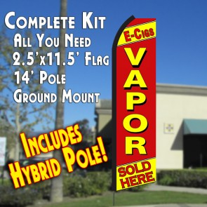 E-CIGS VAPOR SOLD HERE (Yellow/Red) Flutter Feather Banner Flag Kit (Flag, Pole, & Ground Mt)