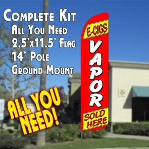 E-CIGS VAPOR SOLD HERE (Red/Yellow) Windless Feather Banner Flag Kit (Flag, Pole, & Ground Mt)