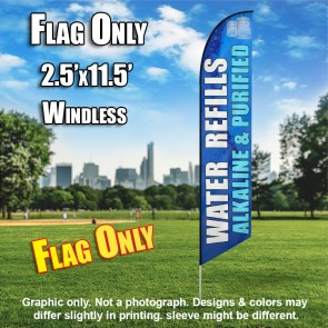WATER REFILLS blue white windless flag
