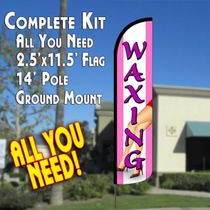 Waxing (Pink) Windless Feather Banner Flag Kit (Flag, Pole, & Ground Mt)