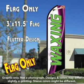 WAXING (White) Flutter Feather Banner Flag (11.5 x 3 Feet)