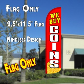 WE BUY COINS (Red/White) Windless Polyknit Feather Flag (2.5 x 11.5 feet)
