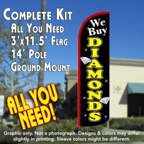 We Buy Diamonds (Black/Yellow) Windless Feather Banner Flag Kit (Flag, Pole, & Ground Mt)