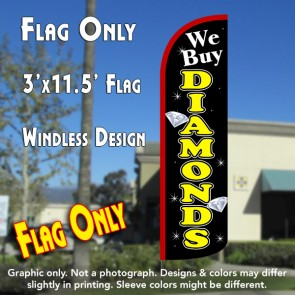 We Buy Diamonds (Black/Yellow) Windless Polyknit Feather Flag (3 x 11.5 feet)
