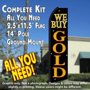 WE BUY GOLD (Black/Gold) Flutter Feather Banner Flag Kit (Flag, Pole, & Ground Mt)