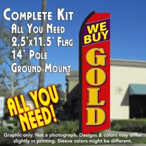 WE BUY GOLD (Black/Red) Flutter Feather Banner Flag Kit (Flag, Pole, & Ground Mt)
