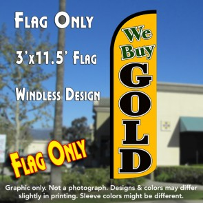 We Buy Gold (Gold/Black) Windless Polyknit Feather Flag (3 x 11.5 feet)