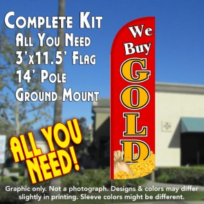 We Buy Gold (Red/Gold/Coins) Windless Feather Banner Flag Kit (Flag, Pole, & Ground Mt)
