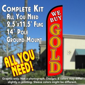 WE BUY GOLD (Red) Windless Feather Banner Flag Kit (Flag, Pole, & Ground Mt)